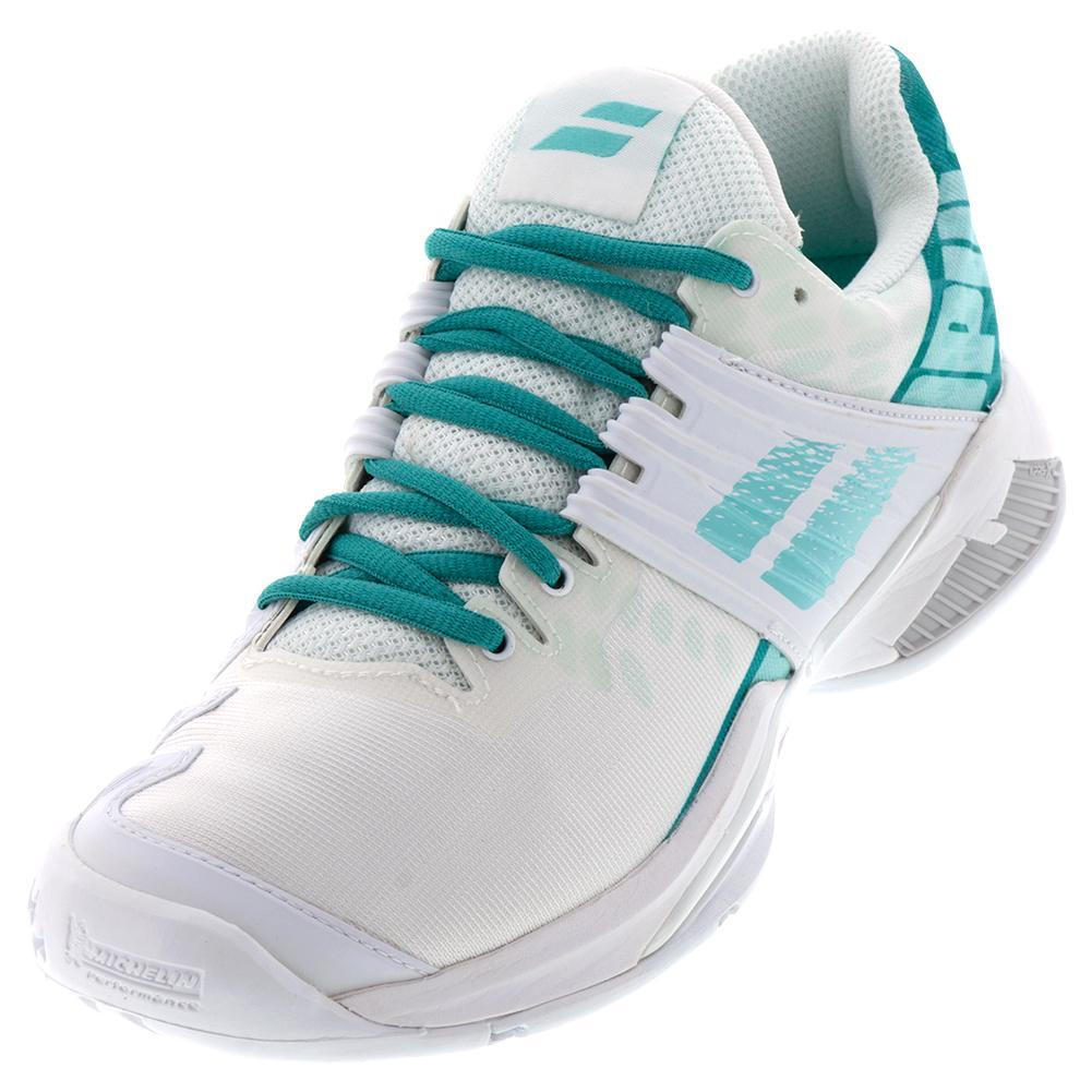 Women's Propulse Fury All Court Tennis Shoes White And Mint Green