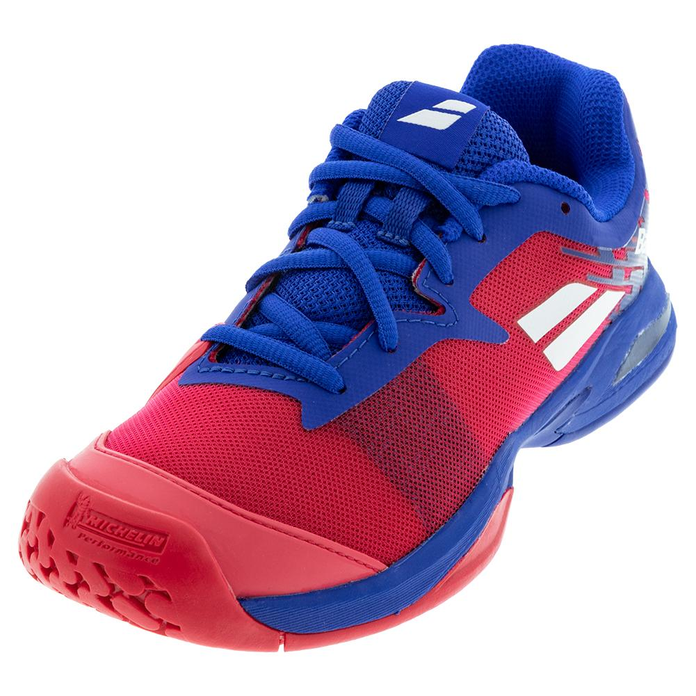 Juniors ` Jet All Court Tennis Shoes Poppy Red And Estate Blue