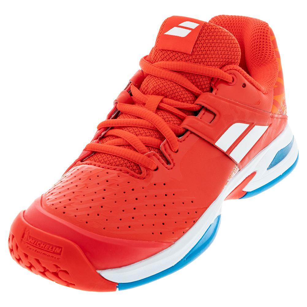 Juniors ` Propulse All Court Tennis Shoes Cherry Tomato White
