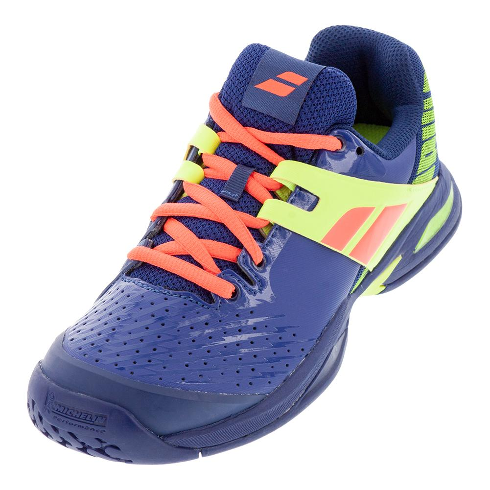 6611f531a222 Juniors ` Propulse All Court Tennis Shoes Blue And Fluo Aero