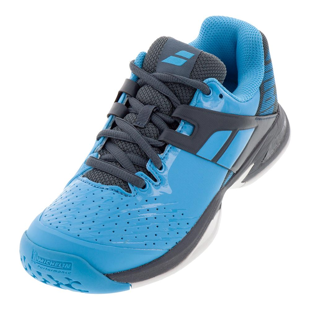 Juniors ` Propulse All Court Tennis Shoes Blue And Gray