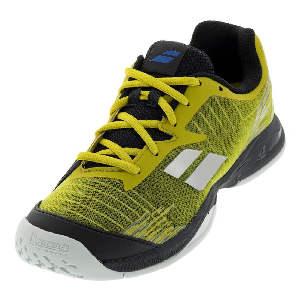 Juniors ` Jet All Court Tennis Shoes Dark Yellow And Black