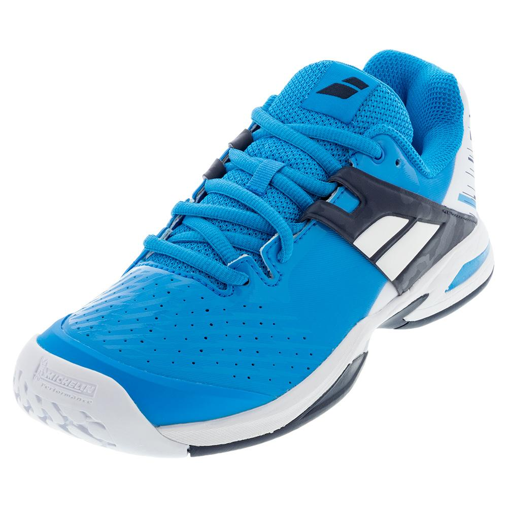 Juniors ` Propulse All Court Tennis Shoes White And Blue Aster