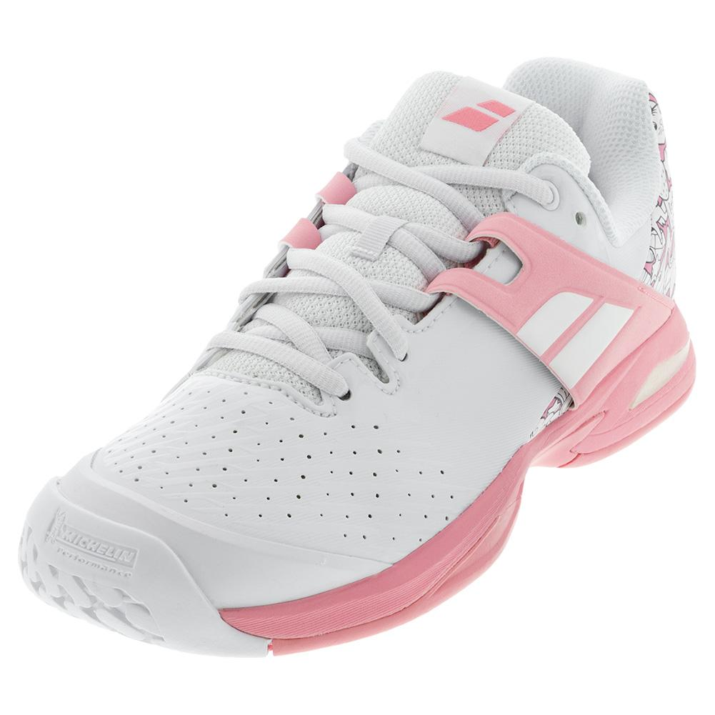 Juniors ` Propulse All Court Tennis Shoes White And Geranium Pink