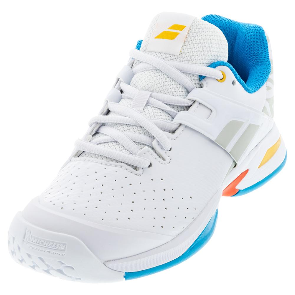 Juniors ` Propulse All Court Tennis Shoes White And Diva Blue