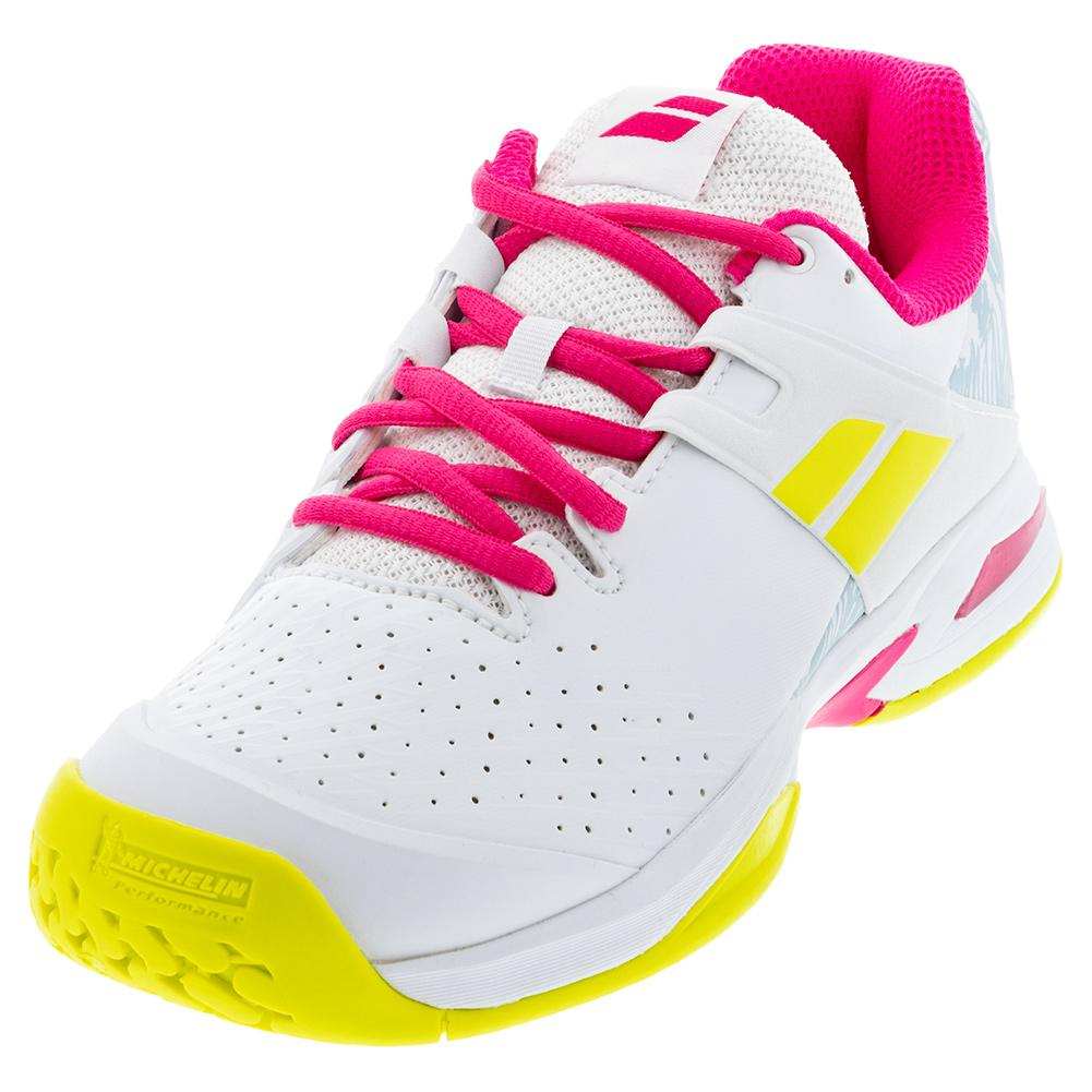 Juniors ` Propulse All Court Tennis Shoes White And Red Rose