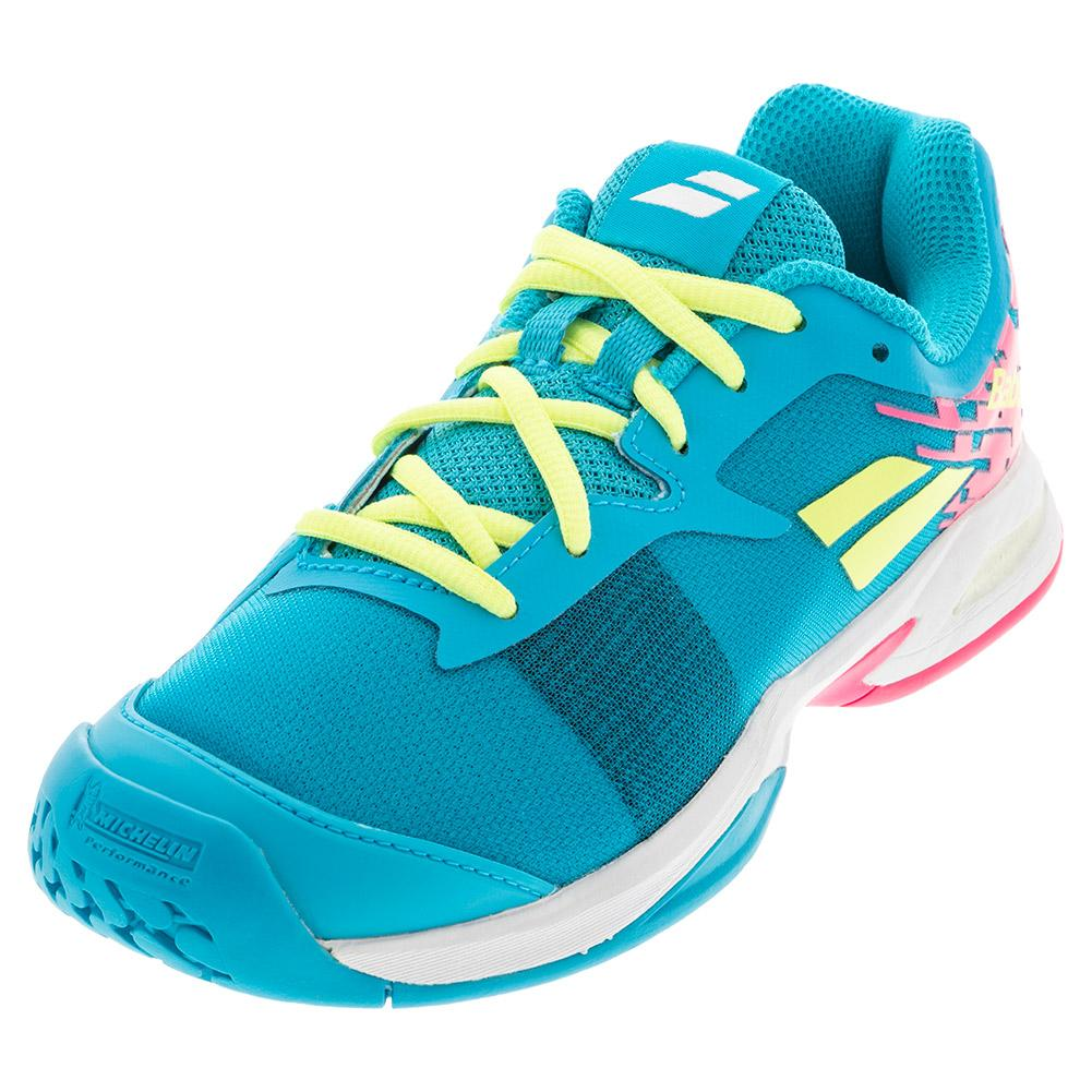 Juniors ` Jet All Court Tennis Shoes Capri Breeze And Pink