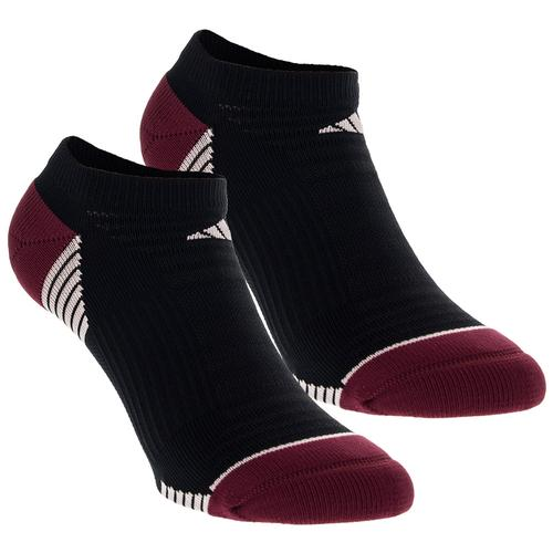 Women's Superlite Speed Mesh No Show Socks 2 Pack Black And Burgundy Size 5- 10