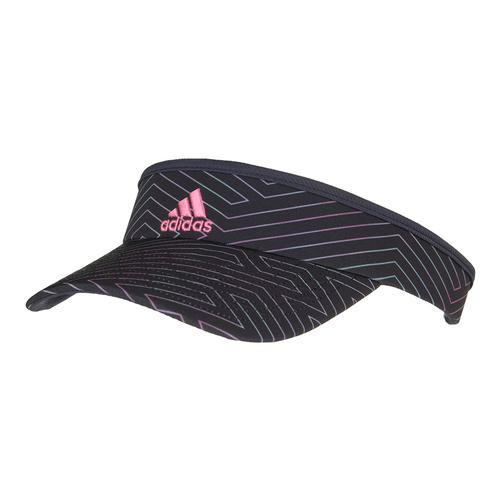 Women's Match Tennis Visor Black Deepest Space And Pink Glow Floral Print