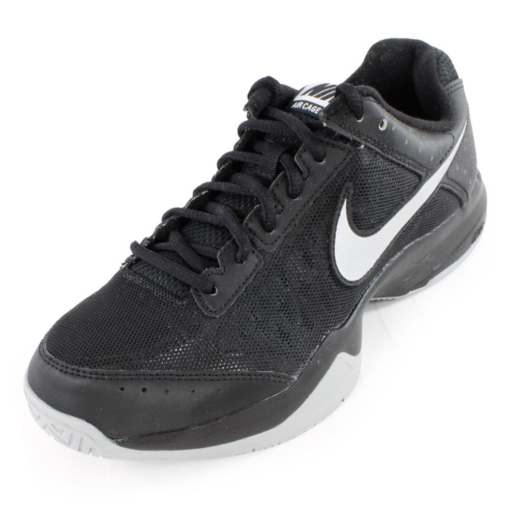 Men's Air Cage Court Tennis Shoes Black And Metallic Silver