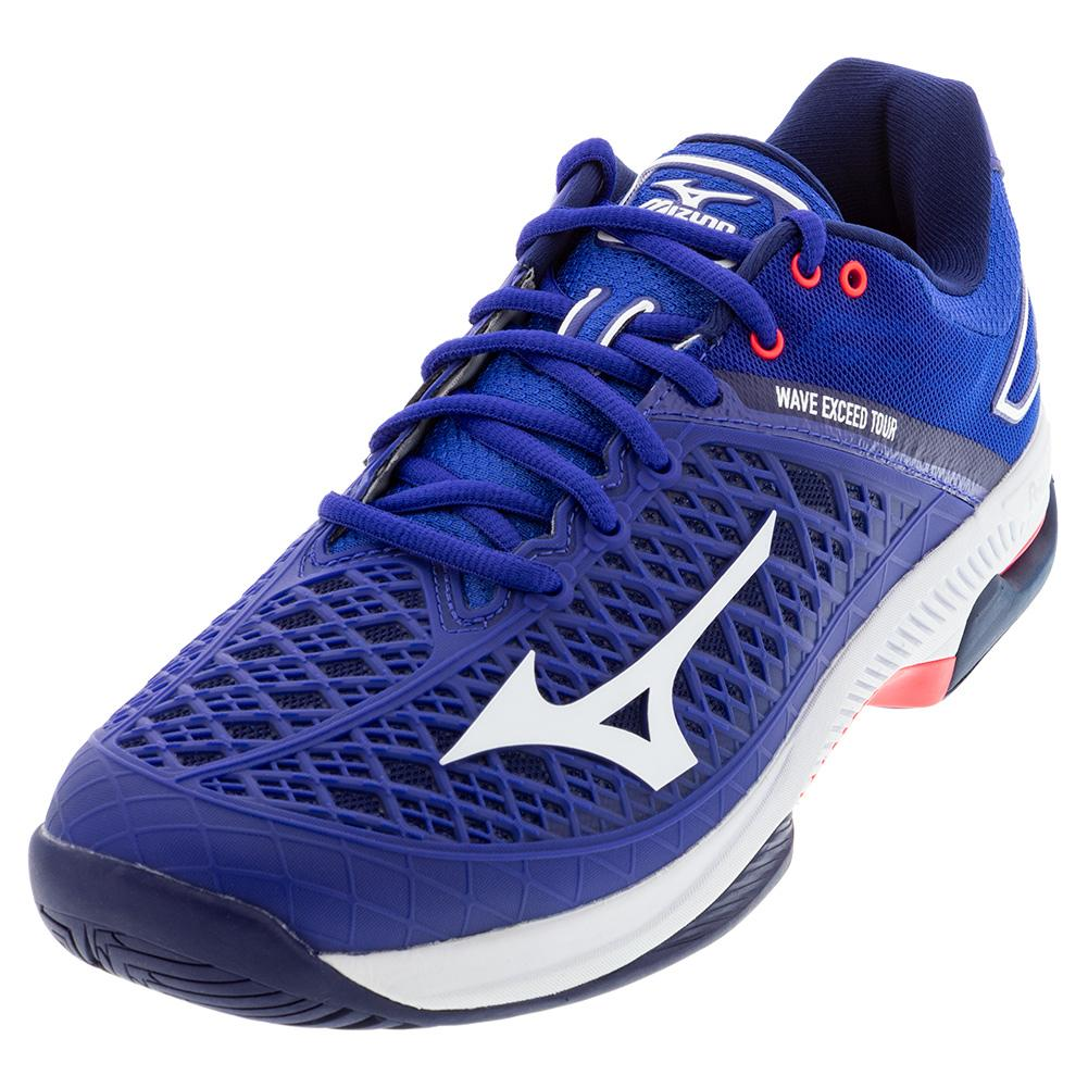Men's Wave Exceed Tour 4 Ac Tennis Shoes Blue And White