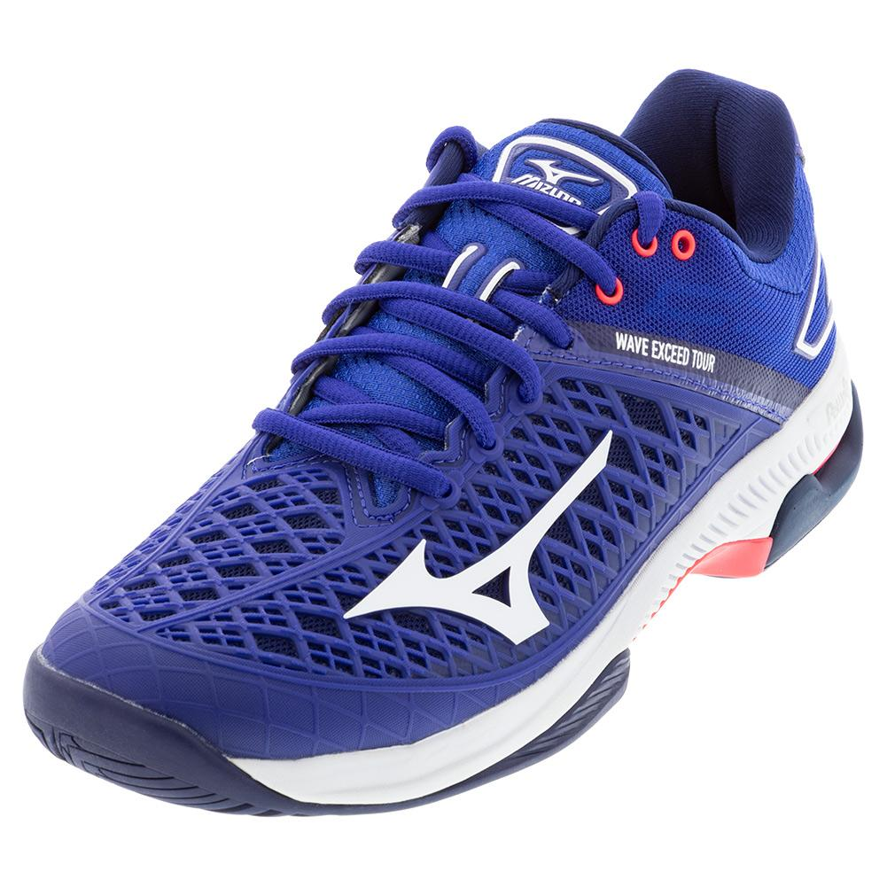 Women's Wave Exceed Tour 4 Ac Tennis Shoes Blue And White
