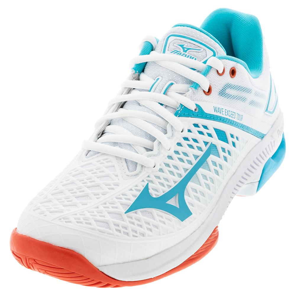 Women's Wave Exceed Tour 4 Ac Tennis Shoes White And Scuba Blue