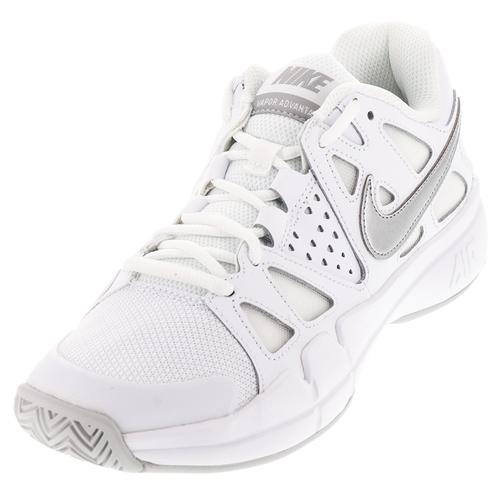 Women's Air Vapor Advantage Tennis Shoes White And Medium Gray