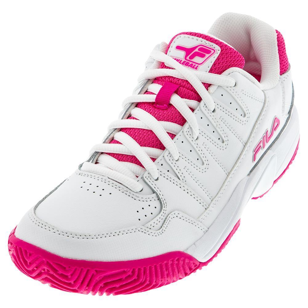Women's Double Bounce Pickleball Shoes White And Pink Glo