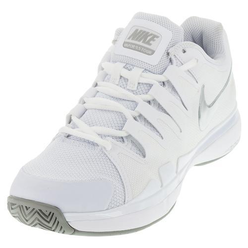 Women's Zoom Vapor 9.5 Tour Tennis Shoes White And Metallic Silver