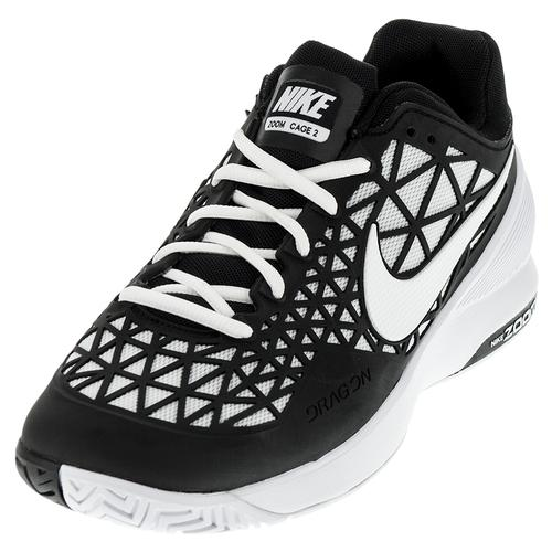 Men's Zoom Cage 2 Tennis Shoes Black And White