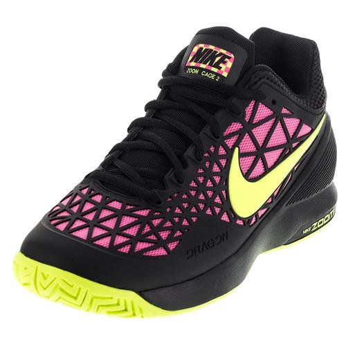 Women's Zoom Cage 2 Tennis Shoes Black And Pink Blast