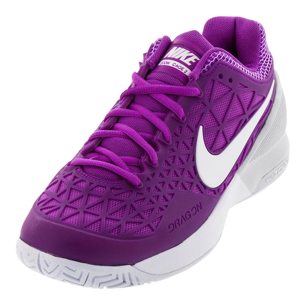 Women's Zoom Cage 2 Tennis Shoes Vivid Purple And White
