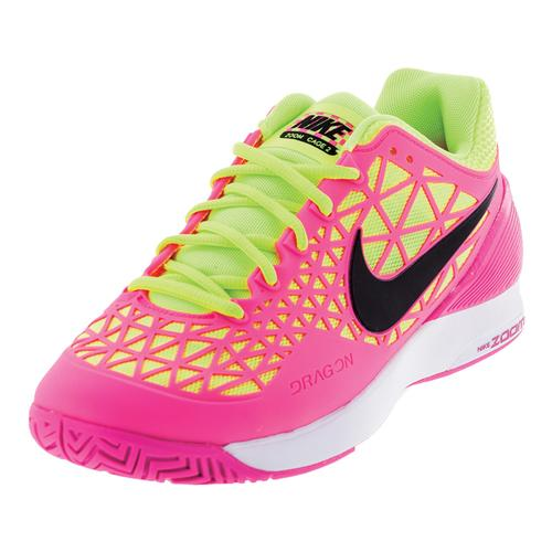 Women's Zoom Cage 2 Tennis Shoes Pink Blast And Volt