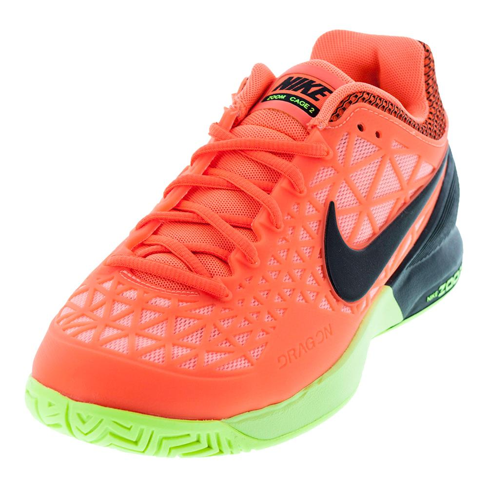 Women's Zoom Cage 2 Tennis Shoes Hyper Orange And Black