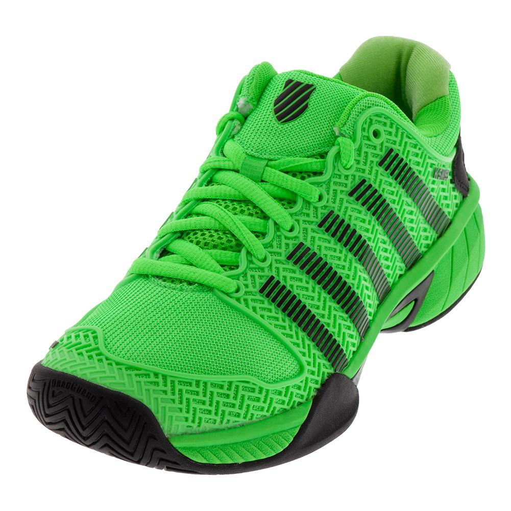 Juniors ` Hypercourt Express Tennis Shoes Neon Lime And Black
