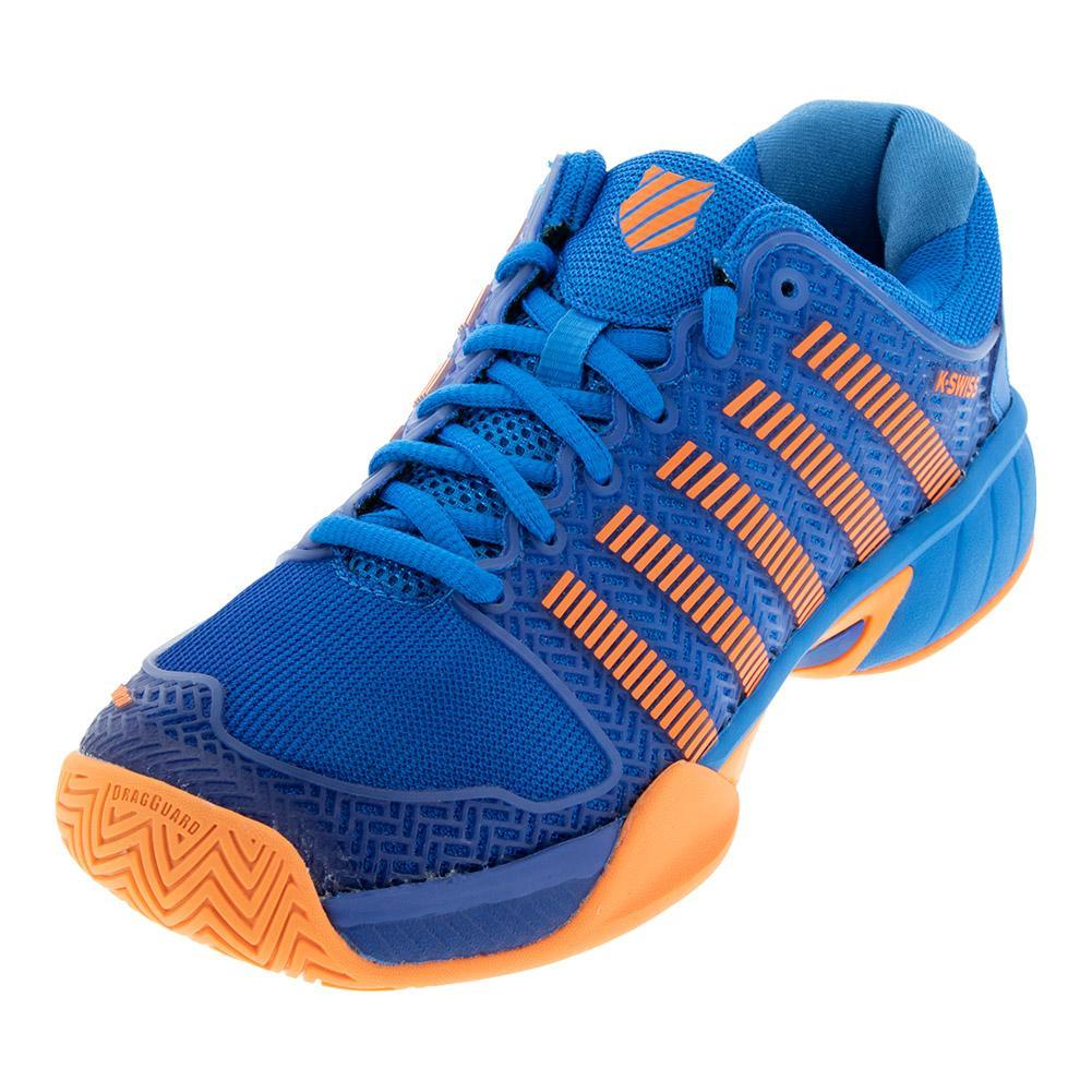 Juniors ` Hypercourt Express Tennis Shoes Brilliant Blue And Neon Orange