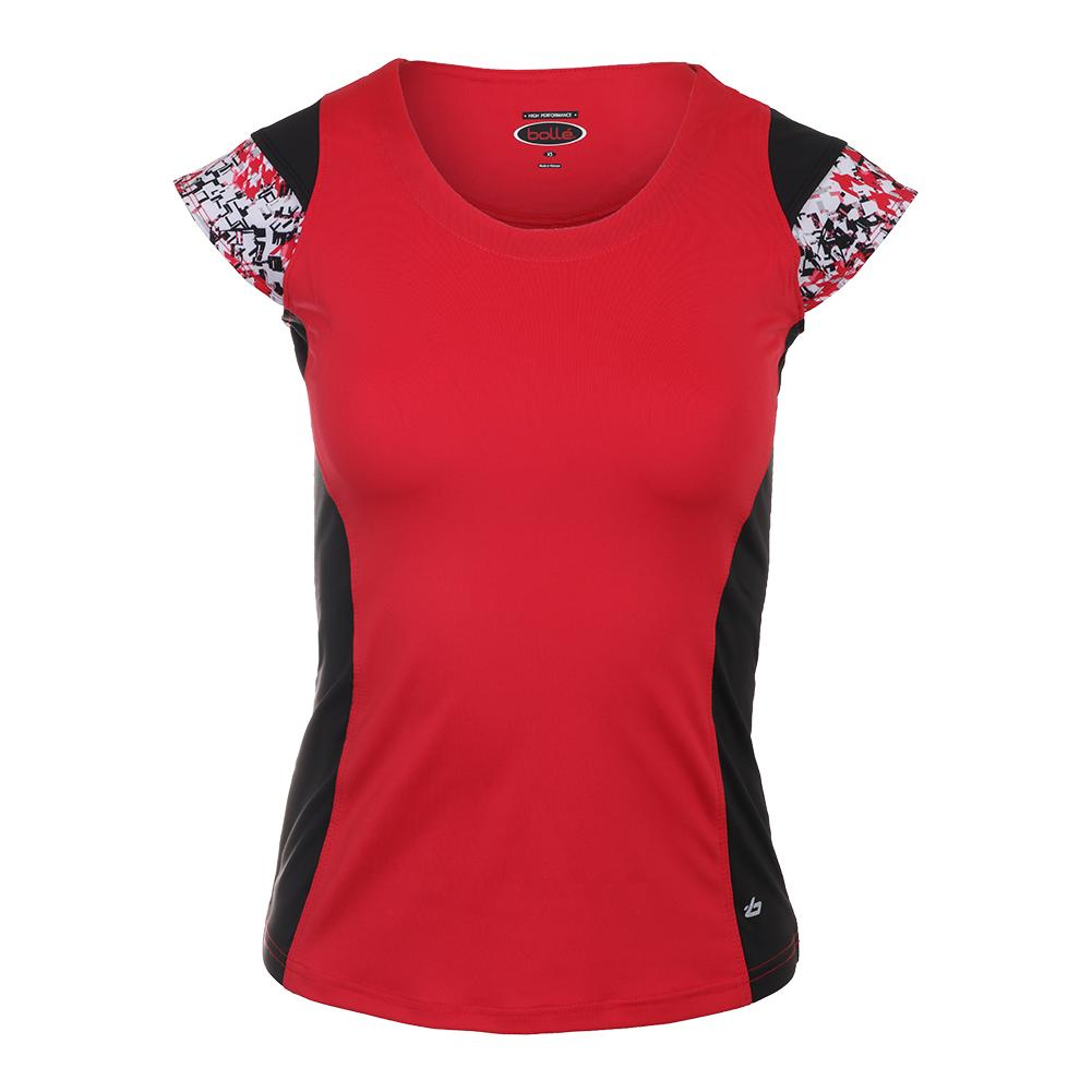 Women's Checkmate Cap Sleeve Tennis Top Red