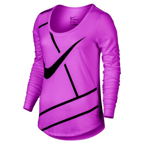 NIKE Women`s Practice Court Logo Long Sleeve Tennis Tee