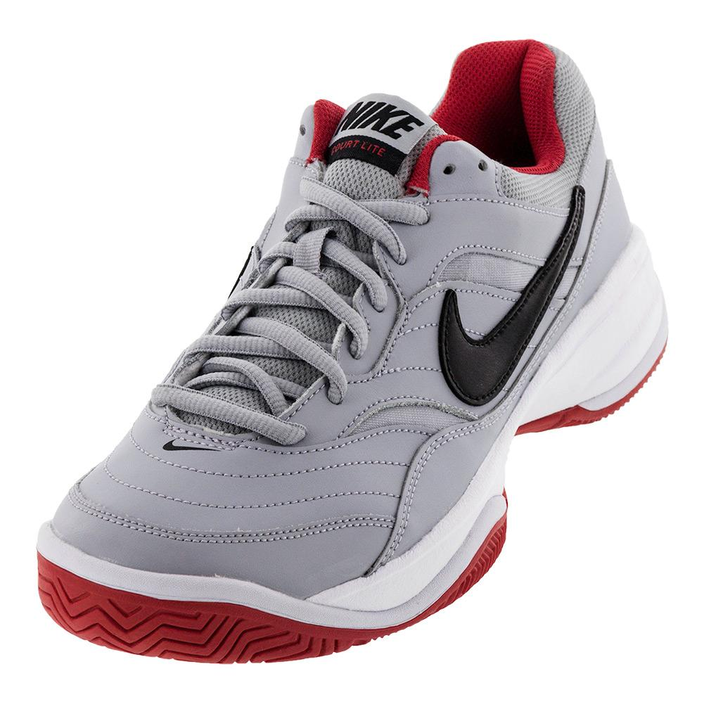 Men's Court Lite Tennis Shoes Wolf Gray And Black