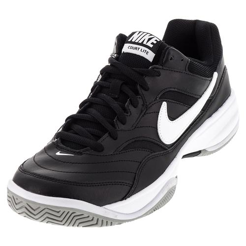 s nike court lite tennis shoes in black and white