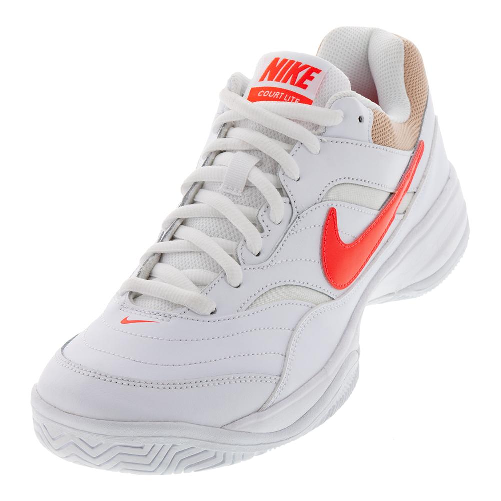 newest b2bdc 4a4a4 NIKE NIKE Mens Court Lite Tennis Shoes White And Bright Crimson