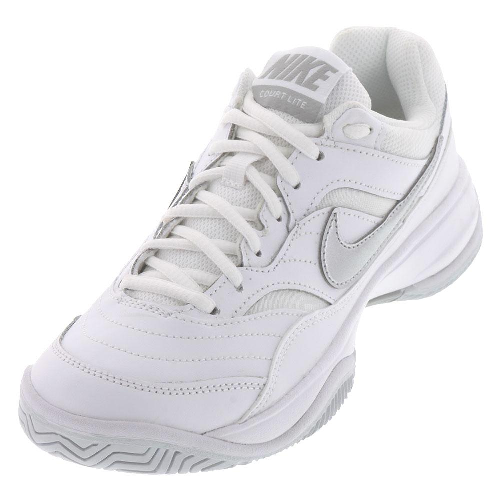 12faba8f2cabe Nike Women s Court Lite Tennis Shoes in White and Grey