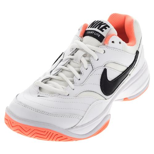 Women's Court Lite Tennis Shoes White And Bright Mango