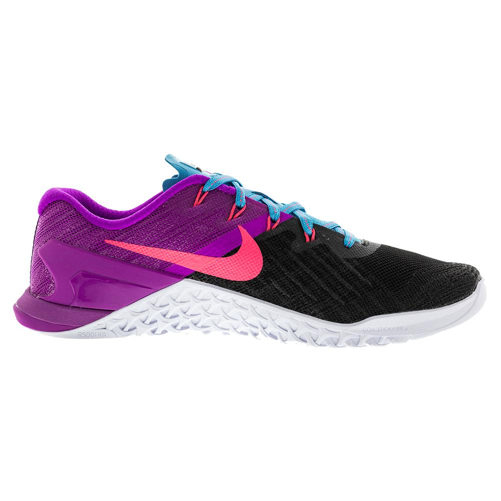 5f0f547dc0593a NIKE NIKE Women s Metcon 3 Training Shoes Black And Racer Pink. Zoom. Hover  to zoom click to enlarge. 360 View