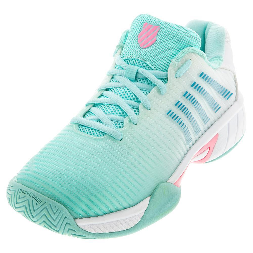 Juniors ` Hypercourt Express 2 Tennis Shoes Aruba Blue And White