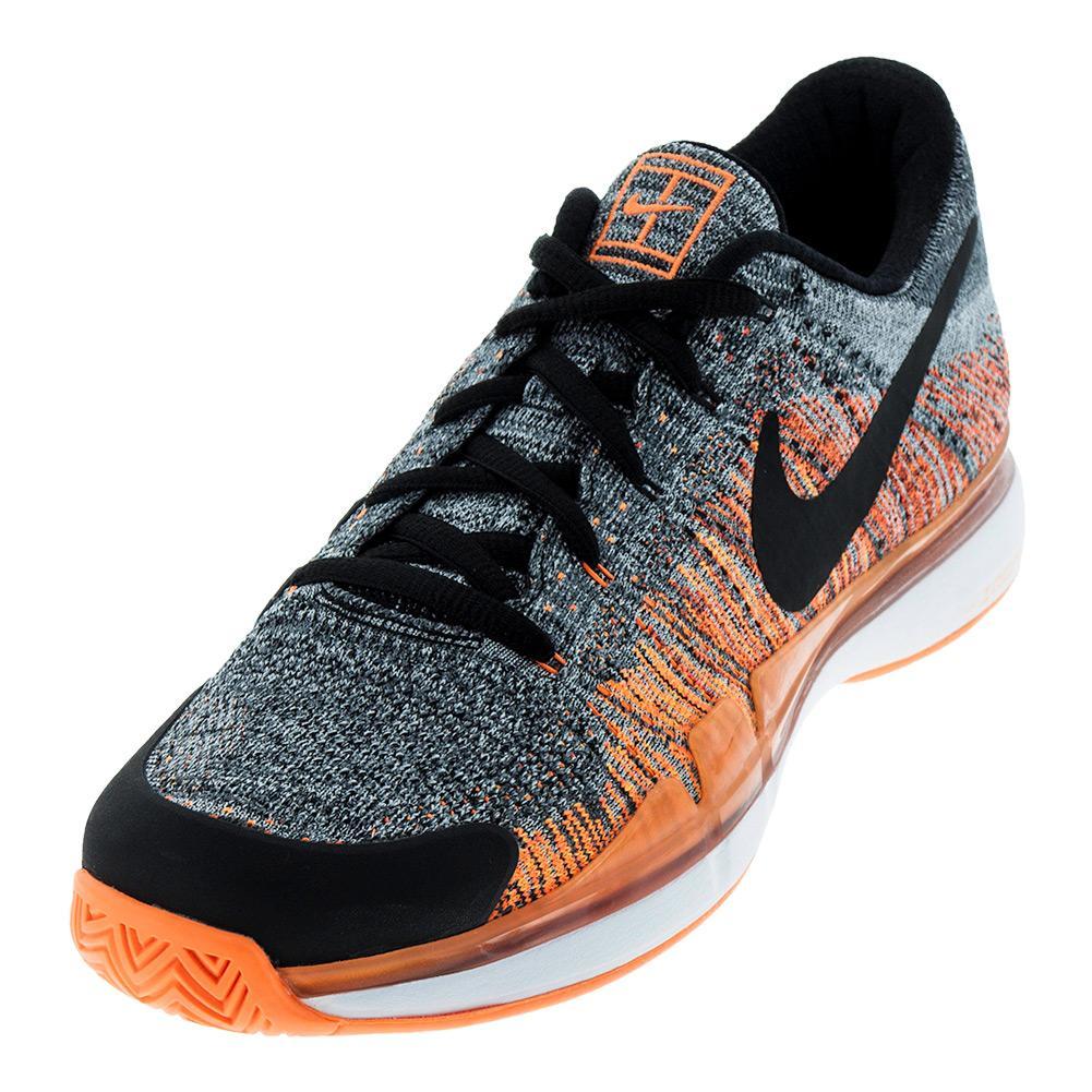 NIKE NIKE Men's Zoom Vapor Flyknit Tennis Shoes Dark Gray And Black