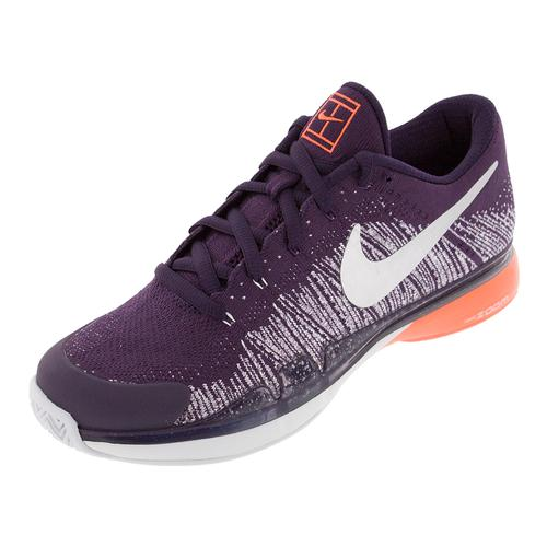Men's Zoom Vapor Flyknit Tennis Shoes Grand Purple And Metallic Silver