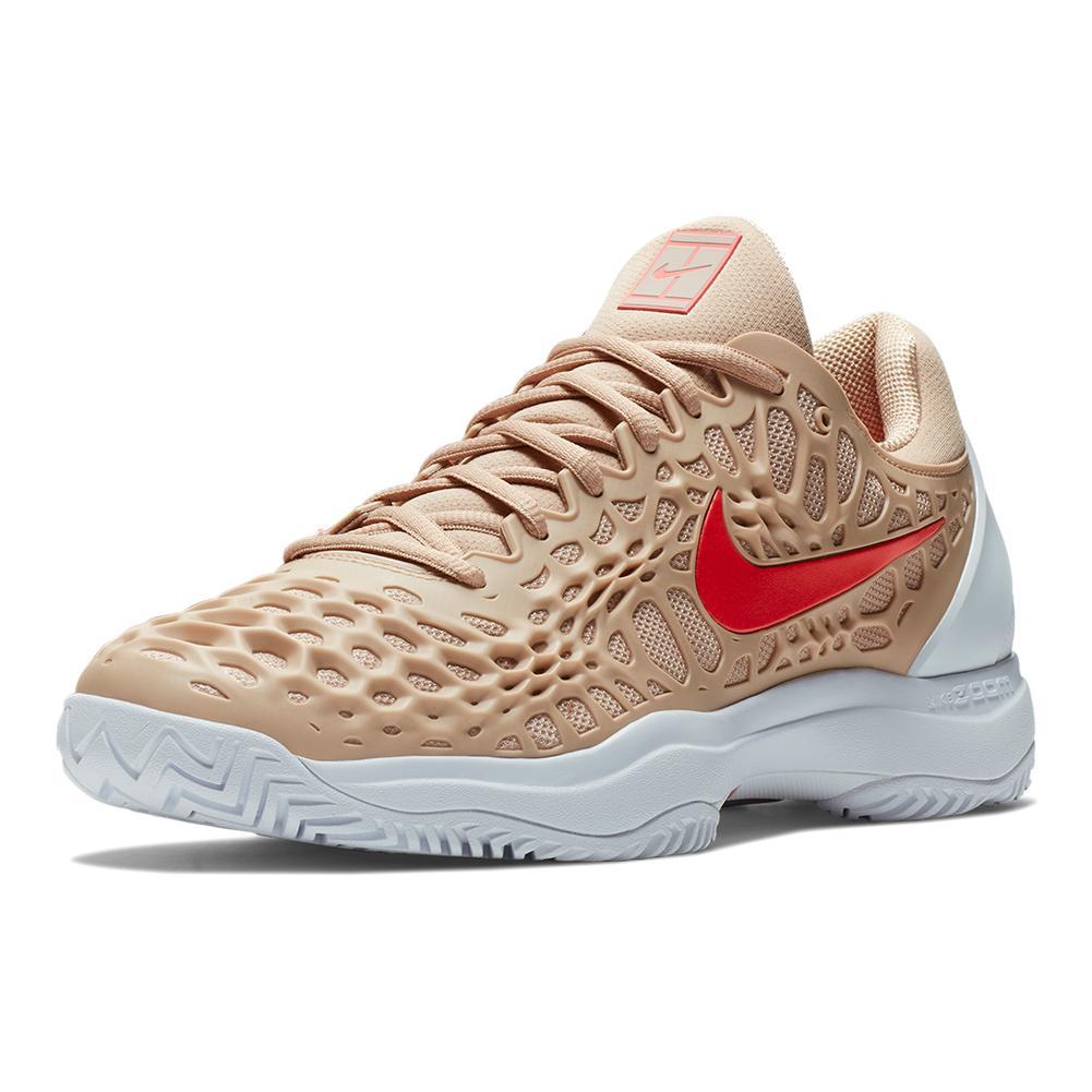 Men's Zoom Cage 3 Tennis Shoes Bio Beige And Bright Crimson