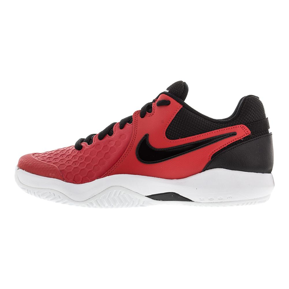 NIKE NIKE Men's Air Zoom Resistance Tennis Shoes University Red And Black.  Zoom. Scroll over to zoom click to enlarge