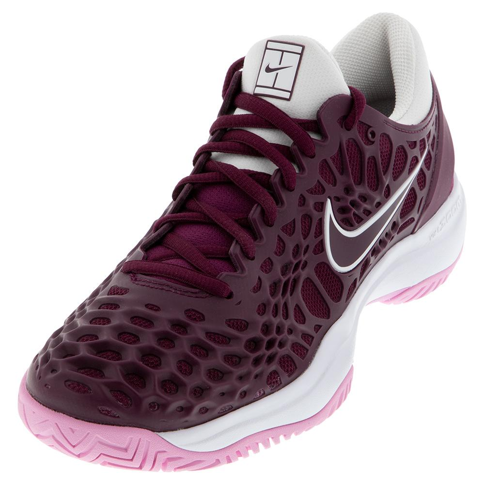 Women's Zoom Cage 3 Tennis Shoes Bordeaux And White
