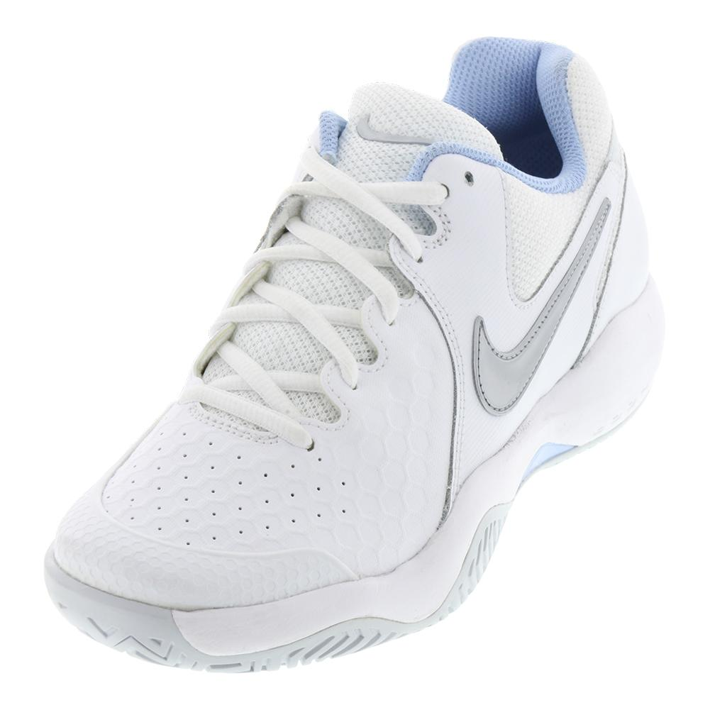 Women's Air Zoom Resistance Tennis Shoes White And Metallic Silver