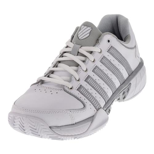 Women's Hypercourt Express Leather Clay Tennis Shoes White And Silver
