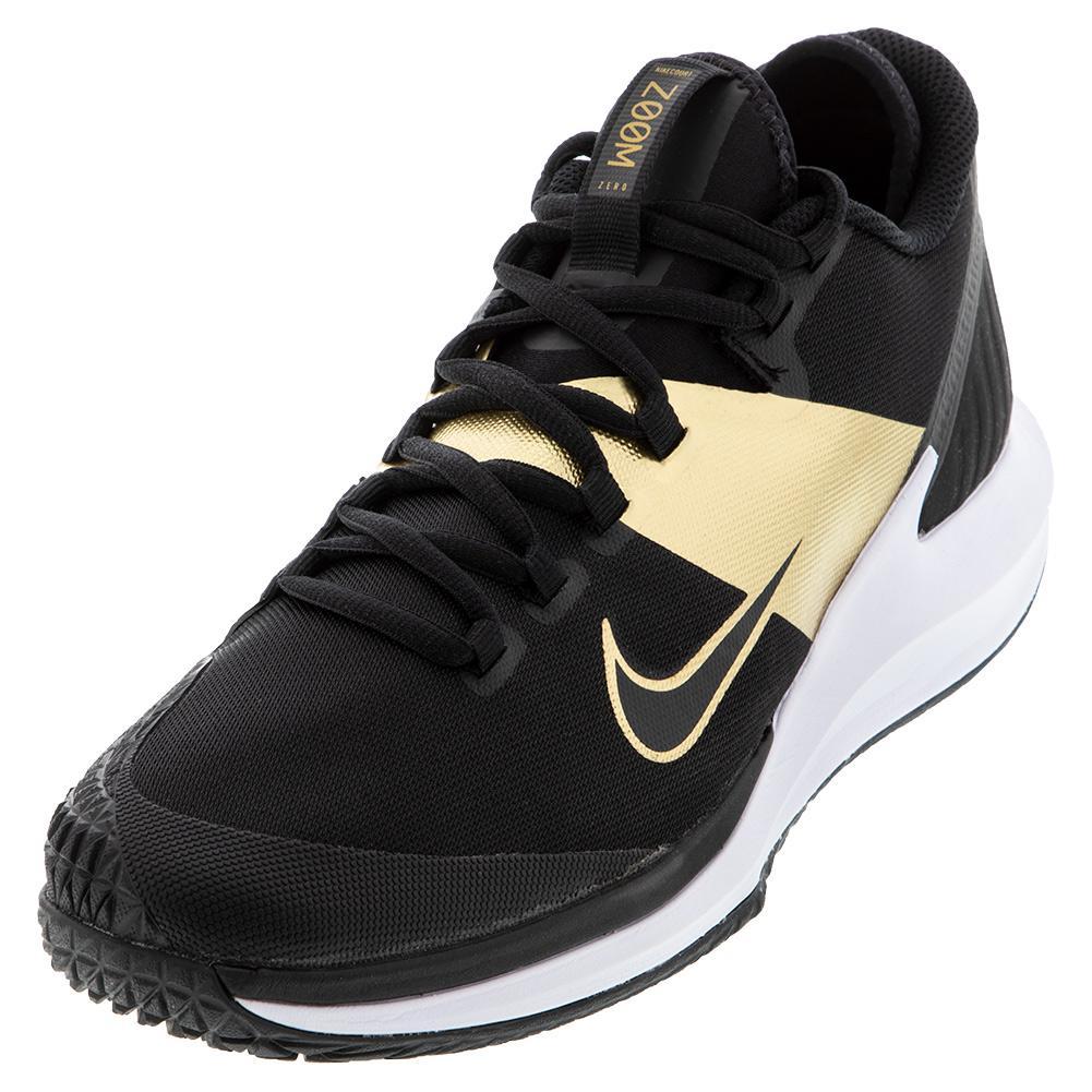 Men's Court Air Zoom Zero Tennis Shoes Black And Metallic Gold