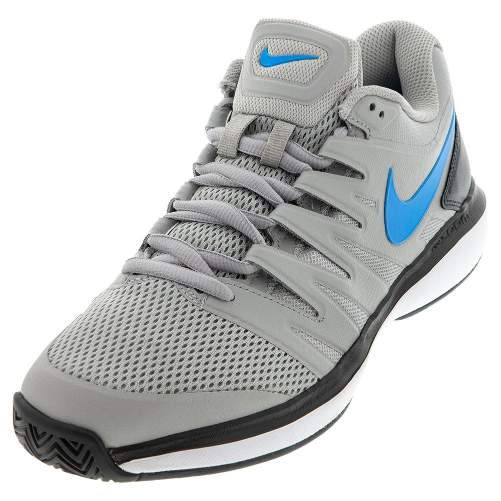 Men's Air Zoom Prestige Tennis Shoes Light Smoke Grey And Blue Hero