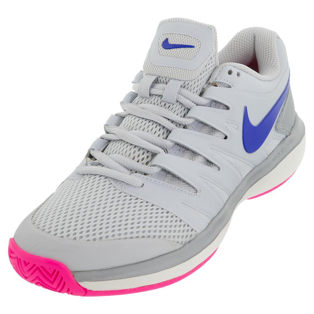 Women's Air Zoom Prestige Tennis Shoes Pure Platinum And Racer Blue
