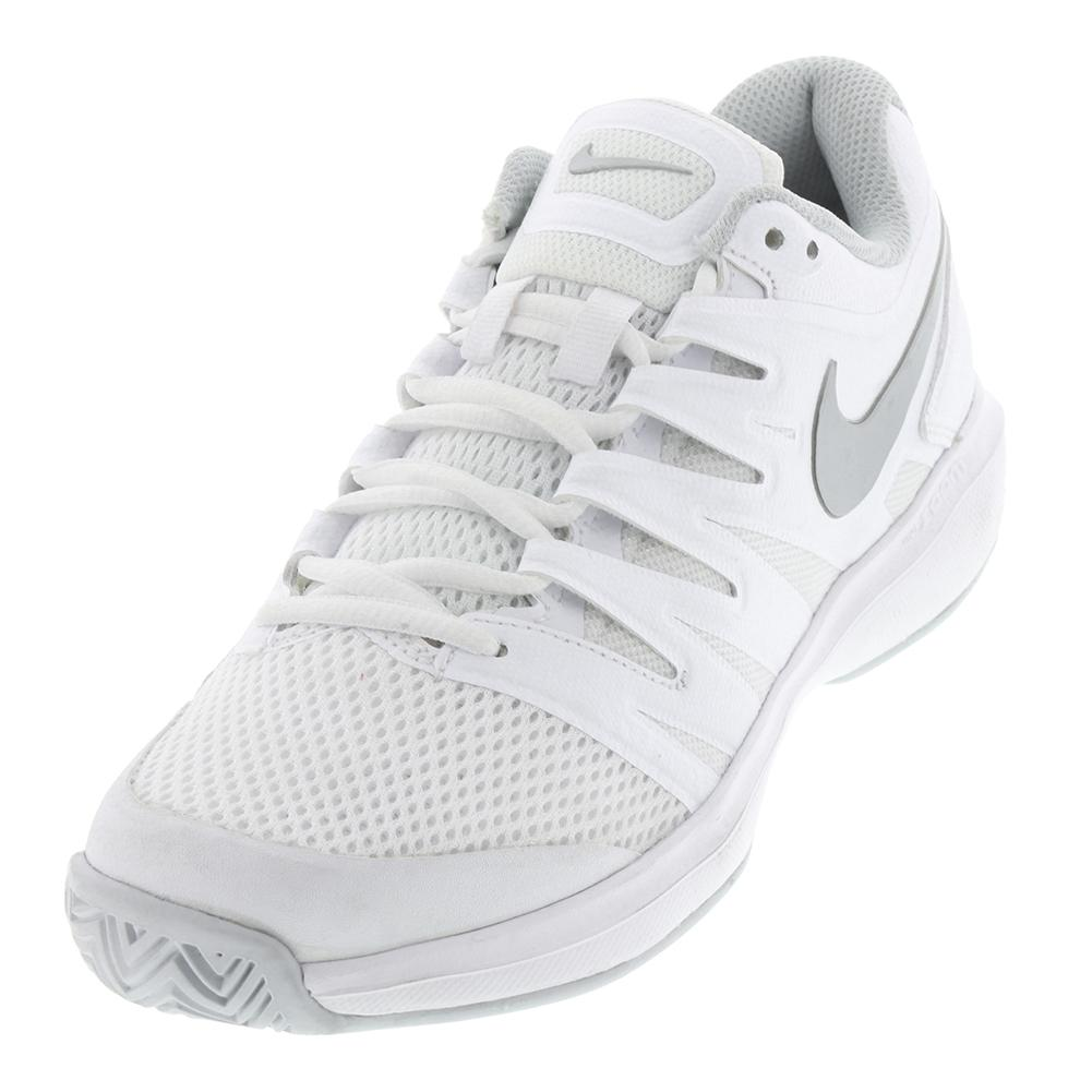 Women's Air Zoom Prestige Tennis Shoes White And Metallic Silver