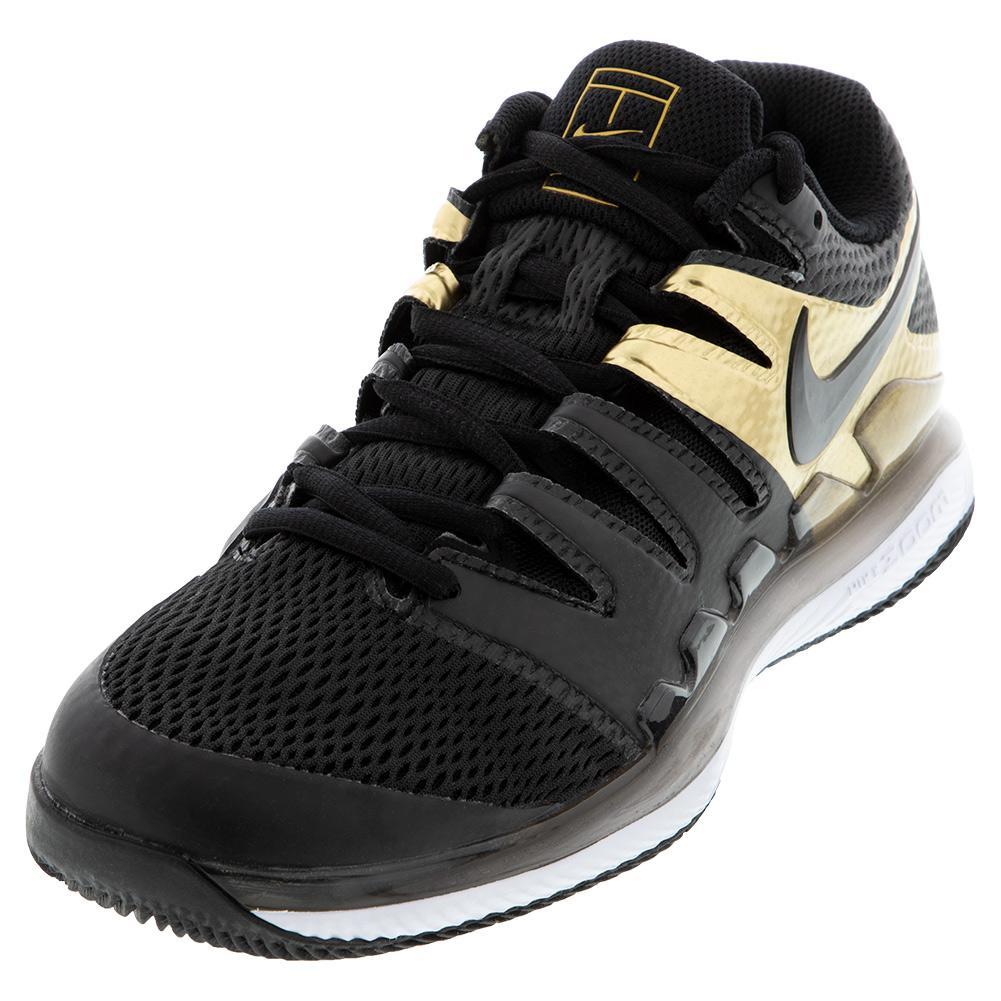 Men's Air Zoom Vapor X Tennis Shoes Black And Metallic Gold