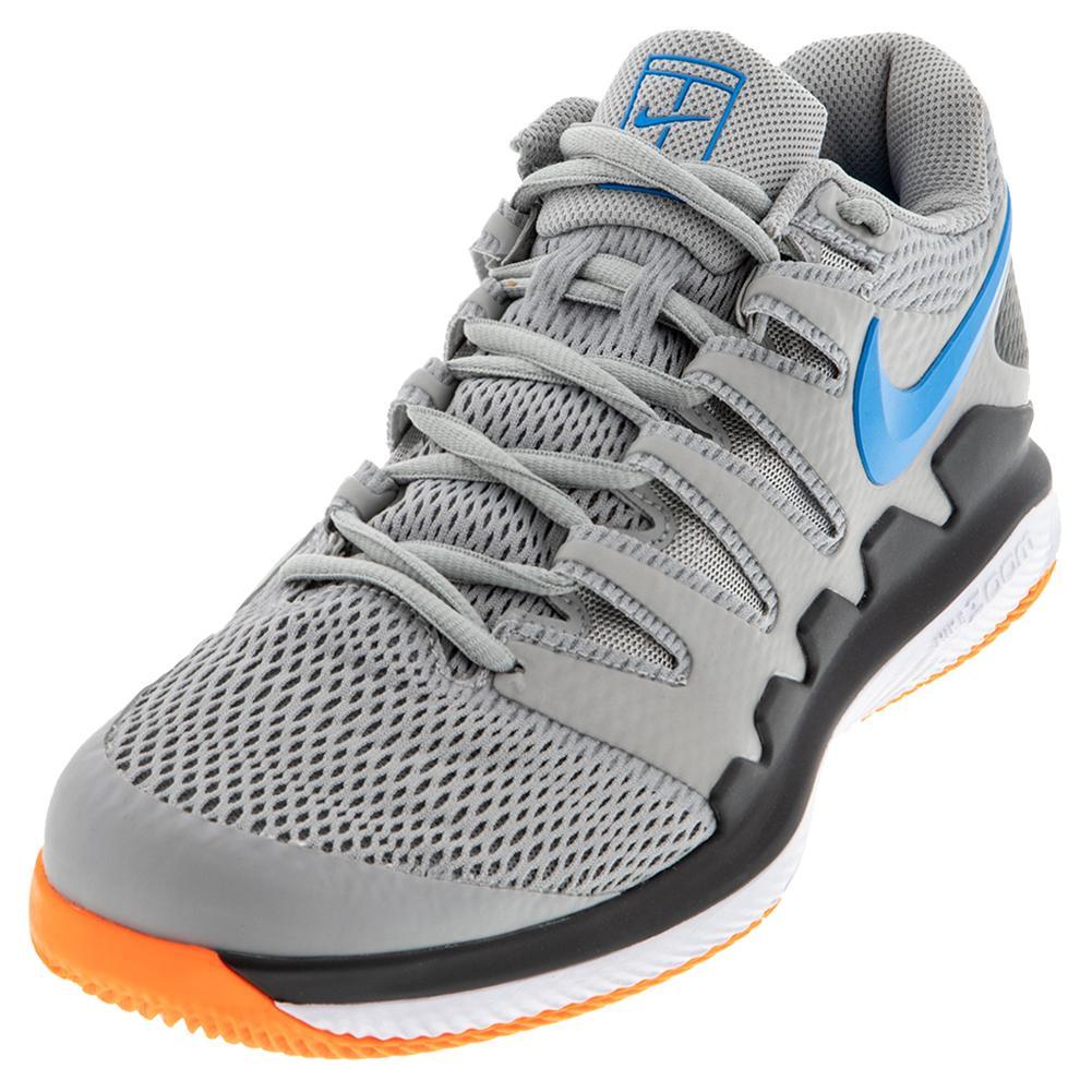 Men's Air Zoom Vapor X Tennis Shoes Light Smoke Grey And Blue Hero