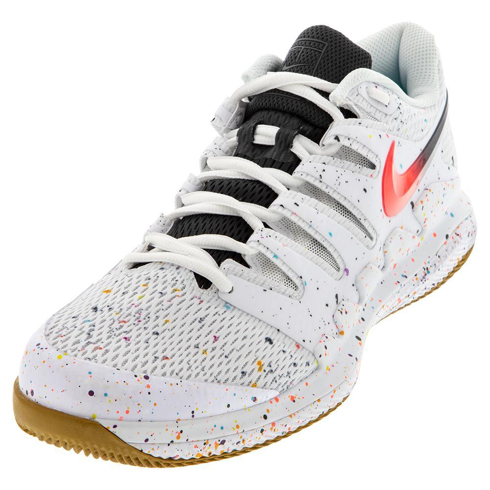 Men's Air Zoom Vapor X Tennis Shoes White And Laser Crimson